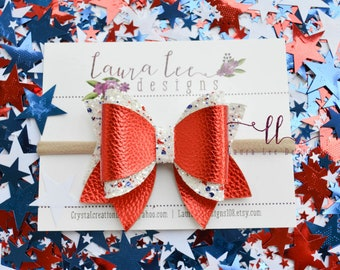 READY TO SHIP 4th of July Red Glitter and Faux Leather and Chunky Glitter Gypsy Style Bow, Nylon Headband or Clip, 4th Of July Sparkle Bow