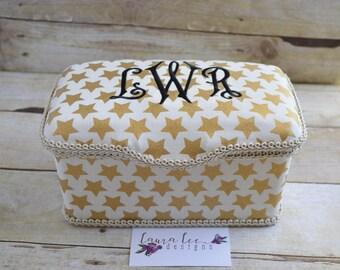 Gold Stars Nursery Baby Wipe Case, Diaper Wipes Case, Personalized Case, Big Wet Wipe Case, Diaper Wipe Case, Large Wipes Tub, Wipe Holder