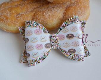 READY TO SHIP Donut Faux Leather and Chunky Glitter Annie Style Bow, Nylon Headband or Clip, Doughnut Sparkle Bow, Donuts Bow, Birthday Bow