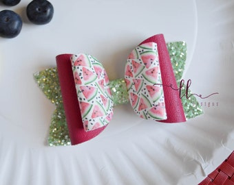 READY TO SHIP Watermelon Faux Leather and Glitter Stacked Izzy Style Bow, Nylon Headband or Clip, Smash Cake, Sparkle Bow, Summer Hair Bow