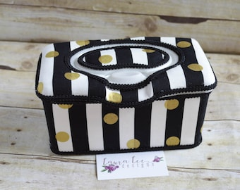 Black and White Stripes with Metallic Gold Dots,Flip Top Nursery Baby Wipe Case, Diaper Wipe Case, Large Wipes Tub, Wipe Holder, Wipecase