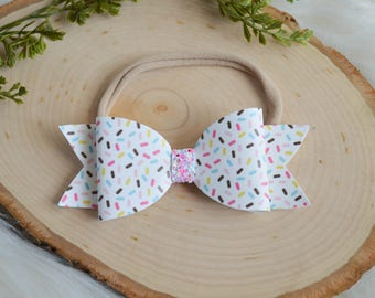 READY TO SHIP, Sprinkles and Glitter Stacked Bow on Nylon Headband or Clip, Newborn, Smash Cake, Sparkle Bow Clip, Toddler, First Birthday