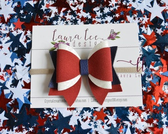 READY TO SHIP 4th of July Old America Faux Leather and Chunky Glitter Gypsy Style Bow, Nylon Headband or Clip, 4th Of July Sparkle Bow
