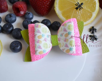 READY TO SHIP Fruit Toss Up Faux Leather and Glitter Stacked Izzy Style Bow, Nylon Headband or Clip, Smash Cake, Sparkle Bow, Fruit Bow