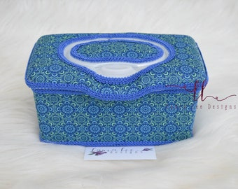 Blue and Green Medallion Flip Top Nursery Wipe Case, Large Wipe Case, Baby Shower Gift, Baby Wipe Case, Diaper Wipe Case, Nappy Wipecase