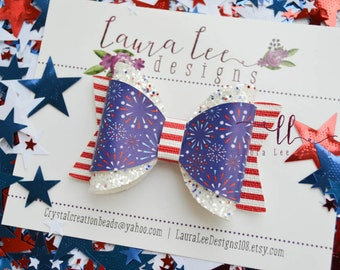READY TO SHIP 4th of July Fireworks Faux Leather and Chunky Glitter Annie Style Bow, Nylon Headband or Clip,  4th Of July Sparkle Bow