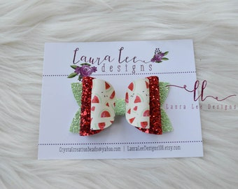 READY TO SHIP Watermelon Faux Leather and Glitter Stacked Izzy Style Bow, Nylon Headband or Clip, Smash Cake Bow, Sparkle Bow, Summer Bow