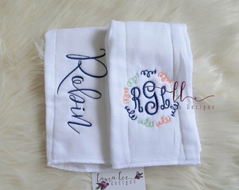 Arrow Burp Cloth Set, Baby Shower Gift Set, Set of 2, Diaper Bag Accessories, Embroidered Burp Cloths, Personalized Baby Gift, Customizabe