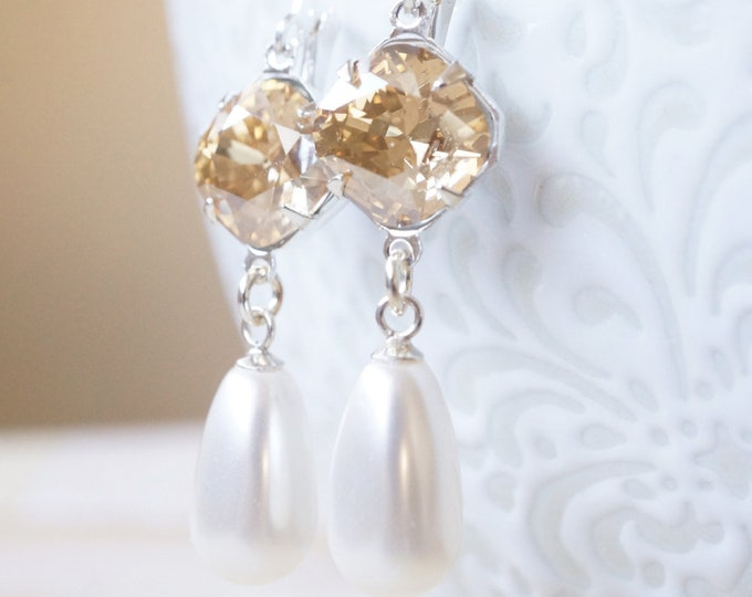 Featured listing image: Earrings, Crystal Earrings, Pearl Earrings, Dangle Earrings, Drop Earrings, Silver Earrings, Swarovski Earrings, Handmade Earrings, Gift