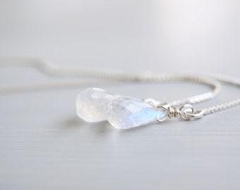 Moonstone Teardrop Silver Threader Earrings