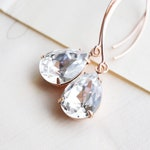 Long Rose Gold, Swarovski Crystal Drop Earrings