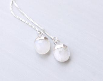 Moonstone Oval, Sterling Silver Threader Earrings
