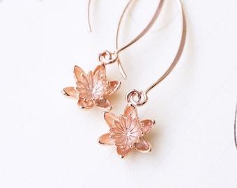 Rose Gold Blooming Lotus, Waterlily Earrings