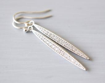 Long, Silver Crystal Dagger Point Earrings