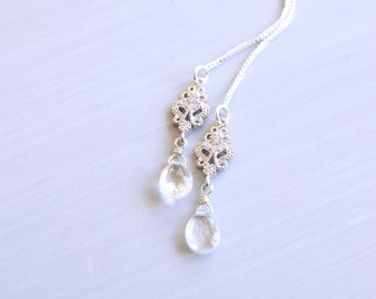 Aquamarine, Silver Filigree Threader Earrings