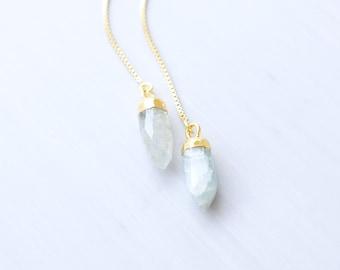 Gold, Aquamarine Point Threader Earrings