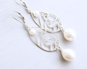 Silver and Pearl Drop Earrings, Ocean Waves, Sea Themed
