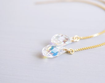 Gold Rainbow Swarovski Crystal Threader Earrings
