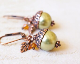 Earrings, Acorn Earrings, Copper Earrings, Pearl Earrings, Crystal Earrings, Handmade Earrings, Botanical Earrings, Peter Pan, Gift for Her