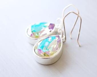 Silver Lavender Green Swarovski Crystal Teardrop Earrings