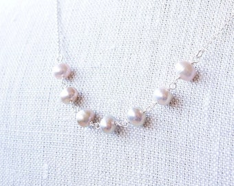 Necklace, Pearl Necklace, Silver Necklace, Pink Necklace, Gemstone Necklace, Handmade Necklace, Bridesmaid Necklace, Bridal Necklace, Gift