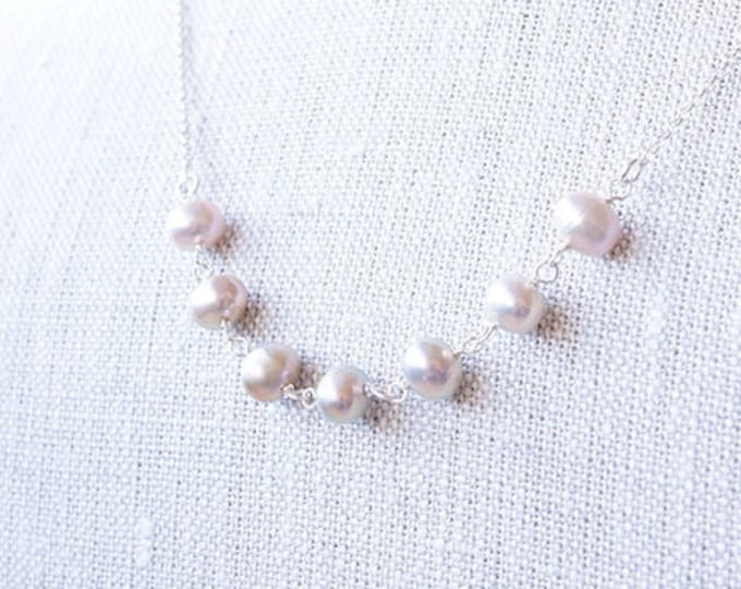 Featured listing image: Necklace, Pearl Necklace, Silver Necklace, Pink Necklace, Gemstone Necklace, Handmade Necklace, Bridesmaid Necklace, Bridal Necklace, Gift