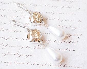 Earrings, Crystal Earrings, Pearl Earrings, Dangle Earrings, Drop Earrings, Silver Earrings, Swarovski Earrings, Handmade Earrings, Gift