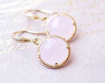 Earrings, Gold Earrings, Pink Earrings, Dangle Earrings, Drop Earrings, Handmade Earrings, Rose Quartz Pink, Bridesmaid Earrings, Gift
