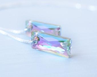 Earrings, Crystal Earrings, Threader Earrings, Silver Earrings, Dangle Earrings, Drop Earrings, Long Earrings, Handmade Earrings, Gift
