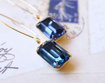 Earrings, Long Earrings, Gold Earrings, Crystal Earrings, Blue Earrings, Swarovski Earrings, Emerald Cut, Dangle Earrings, Montana Blue