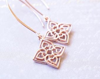 Earrings, Rose Gold Earrings, Dangle Earrings, Drop Earrings, Long Earrings, Heart Earrings, Handmade Earrings, Gift for Her, Gift