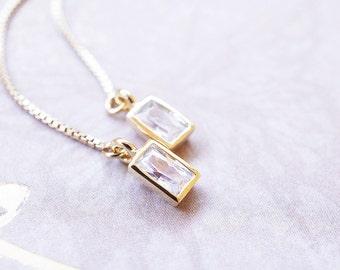 Earrings, Threader Earrings, Gold Earrings, CZ Earrings, Rectangle, Yellow Gold, Chain Earrings, No. EGT004