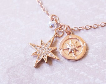 Necklace, Rose Gold Necklace, Star Necklace, Crystal Necklace, Compass Necklace, Starburst Necklace, CZ Necklace, Bridesmaid Necklace, Gift