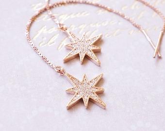 Rose Gold CZ Starburst Earrings