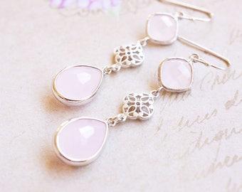Earrings, Rose Quartz Earrings, Silver Earrings, Dangle Earrings, Drop Earrings, Handmade Earrings, Bridesmaid Earrings, Gift for Her, Gift