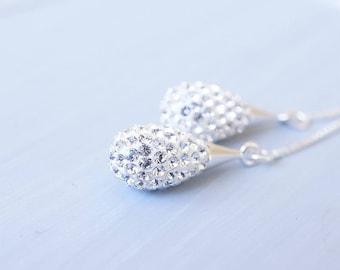 Earrings, Threader Earrings, Silver Earrings, Dangle Earrings, Drop Earrings, Long Earrings, Pave Earrings, Handmade Earrings, Gift for Her