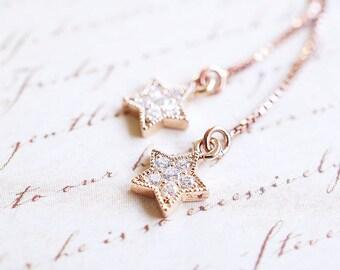 Earrings, Threader Earrings, Rose Gold Earrings, CZ Earrings, Star Earrings, Long Earrings, Dangle Earrings, Drop Earrings, Gift for Her