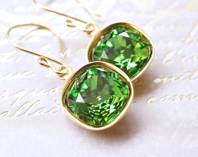 Featured listing image: Earrings, Gold Earrings, Dangle Earrings, Drop Earrings, Green Earrings, Swarovski Earrings, Fern Green, Cushion Cut, Gift for Her