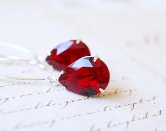 Earrings, Silver Earrings, Red Earrings, Crystal Earrings, Swarovski Earrings, Long Earrings, Dangle Earrings, Drop Earrings, Gift for Her