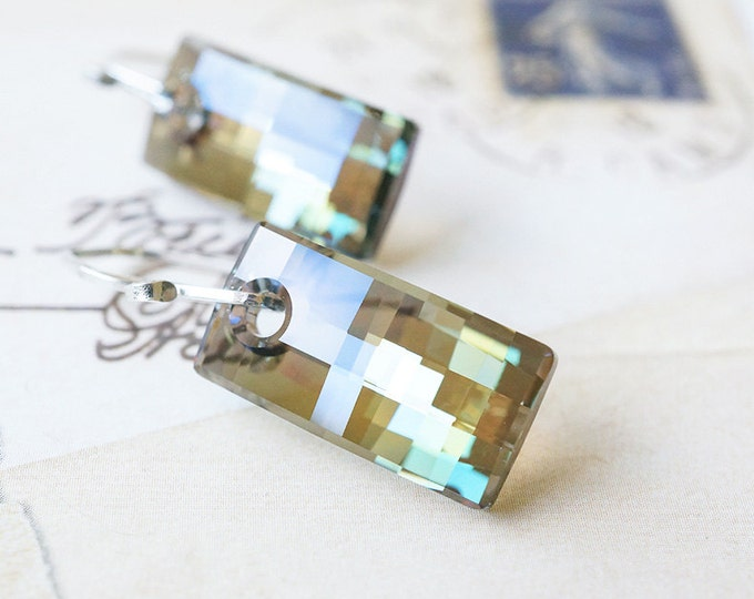 Featured listing image: Earrings, Crystal Earrings, Green Earrings, Dangle Earrings, Swarovski Earrings, Iridescent Green, Urban Pendants, Handmade Earrings, Gift