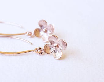 Earrings, Rose Gold Earrings, Dangle Earrings, Drop Earrings, Flower Earrings, Long Earrings, Handmade Earrings, Bridesmaid Earrings, Gift
