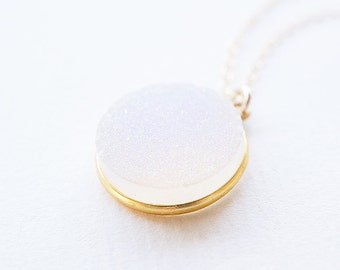 Necklace, Druzy Necklace, Gold Necklace, Crystal Necklace, White Necklace, Handmade Necklace, Gift for Her, Gemstone Necklace