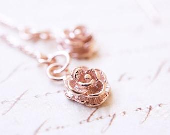 Earrings, Threader Earrings, Rose Gold Earrings, Rose Earrings, Long Earrings, Dangle Earrings, Handmade Earrings, Bridesmaid Earrings, Gift