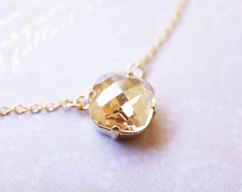 Necklace, Gold Necklace, Crystal Necklace, Handmade Necklace, Swarovski Necklace, Cushion Cut Necklace, Bridesmaid Necklace, Gift for Her