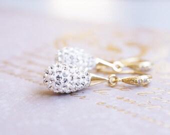 Earrings, Gold Earrings, Crystal Earrings, Pave Earrings, Swarovski Earrings, Dangle Earrings, Drop Earrings, Bridesmaid Earrings, Gift