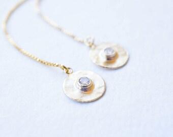 Earrings, Gold Earrings, Threader Earrings, CZ Earrings, Dangle Earrings, Drop Earrings, Minimalist Earrings, Gift for Her, Gift