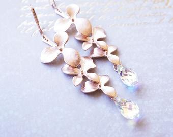 Earrings, Rose Gold Earrings, Crystal Earrings, Flower Earrings, Swarovski Earrings, Long Earrings, Dangle Earrings, Drop Earrings, Gift