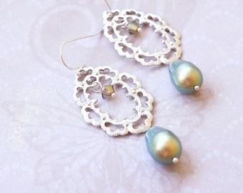 Earrings, Silver Earrings, Crystal Earrings, Pearl Earrings, Lace Earrings, Green Earrings, Dangle Earrings, Drop Earrings, Gift for Her