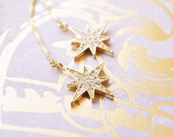 Earrings, Threader Earrings, Gold Earrings, Star Earrings, Starburst Earrings, Long Earrings, Dangle Earrings, Drop Earrings, Gift for Her