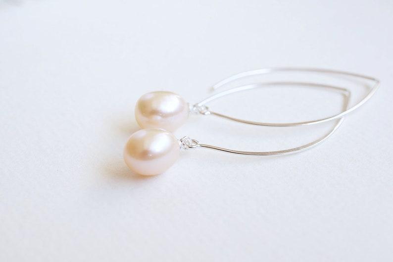 Long Silver Pink Freshwater Pearl Earrings image 0